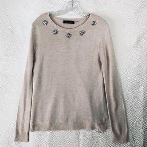 Woman's small pink Ivanka Trump rhinestone sweater